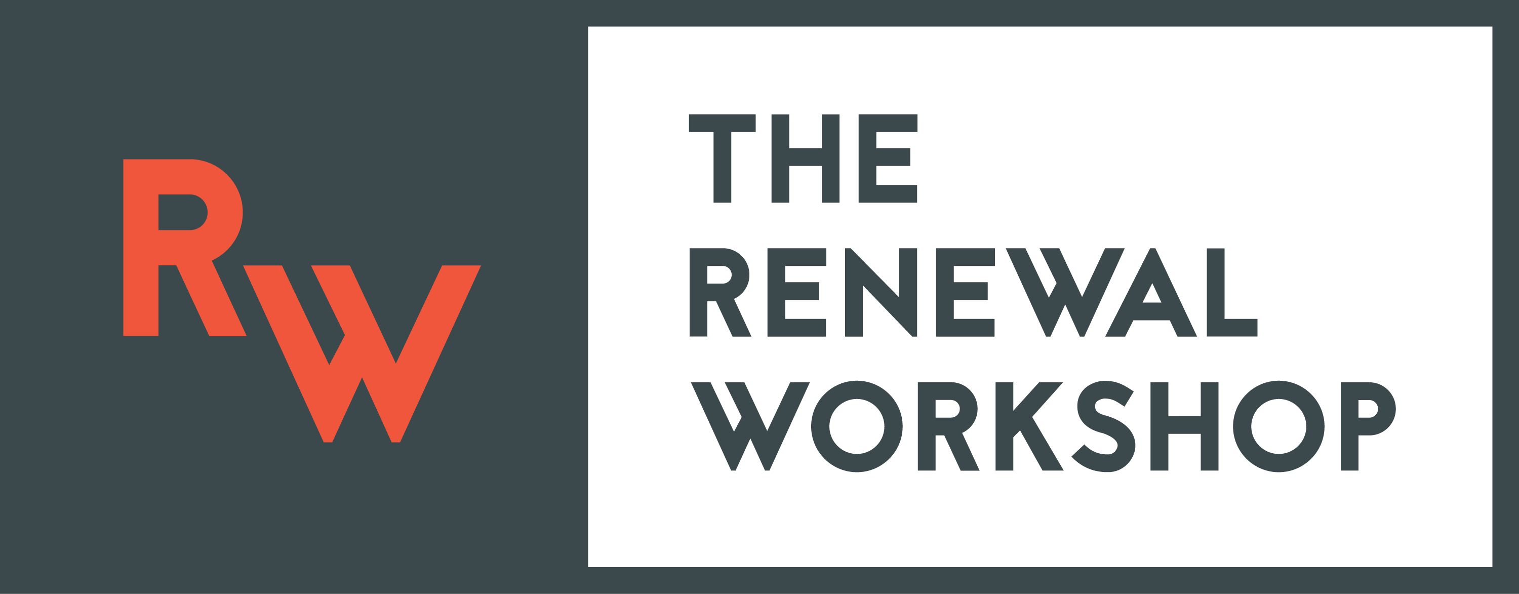 Renewal Workshop white on gray logo