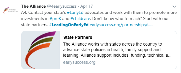 #LeadingonEarlyEd Taking Action