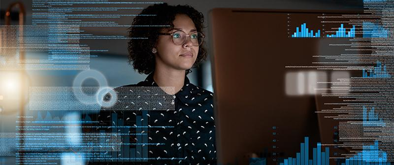 Software designer working at screen