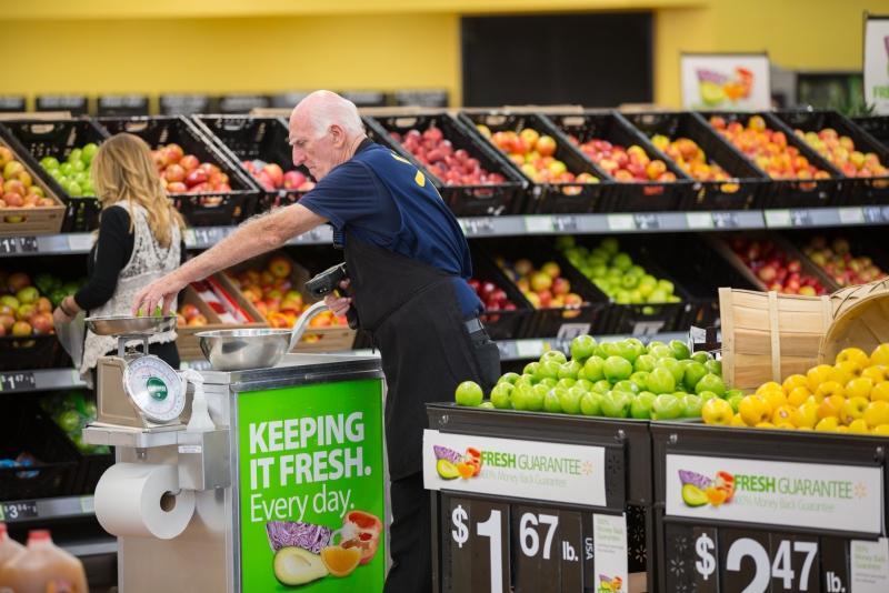 Walmart employee & fruit