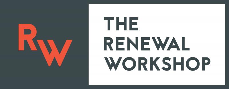 Renewal Workshop white on gray logo