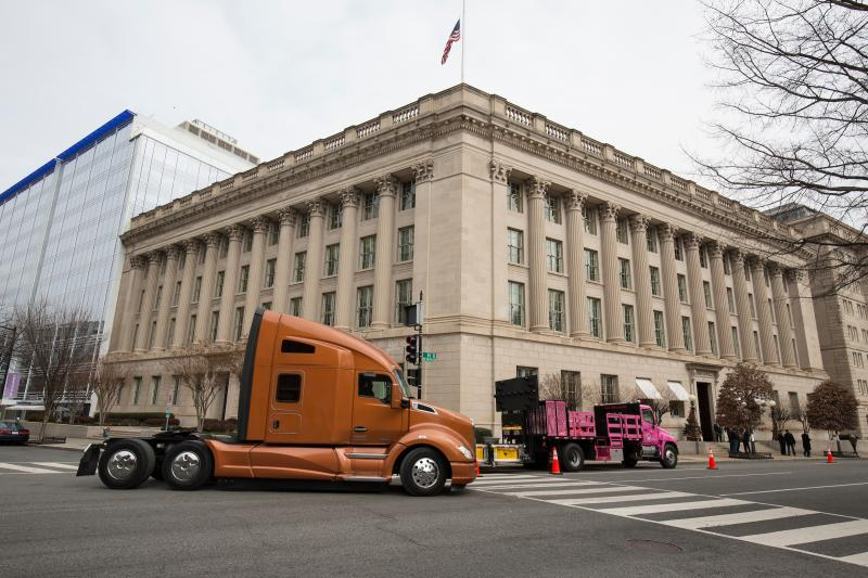 Truck pulls up in front of chamber building