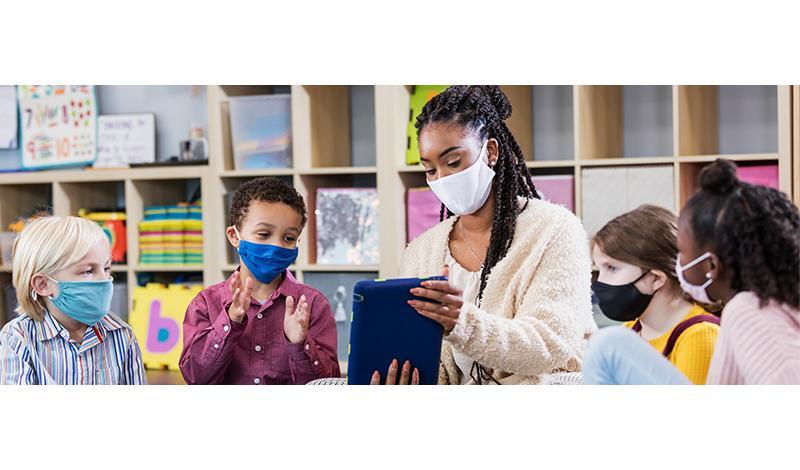 PreK Teacher with Kids in Masks
