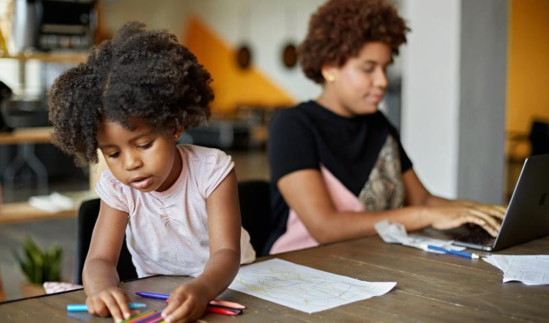 African American Mother_Daughter Working at Home