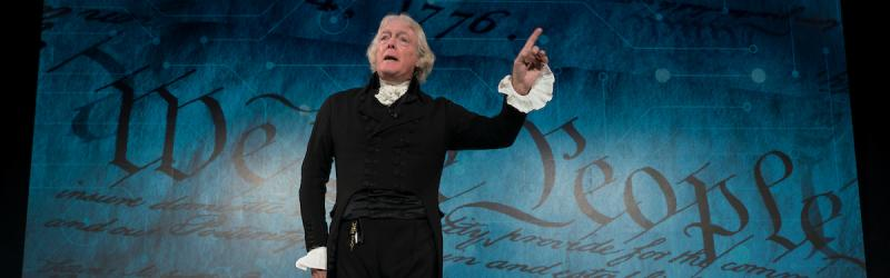 Thomas Jefferson, portrayed by Bill Barker of Monticello, speaks during a civics event at the U.S. Chamber Foundation in Washington, D.C.