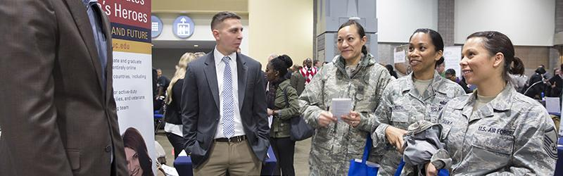 Veterans seek new opportunities at a Hiring Our Heroes job fair at the Washington Convention Center. Photo by Ian Wagreich / © U.S. Chamber of Commerce.